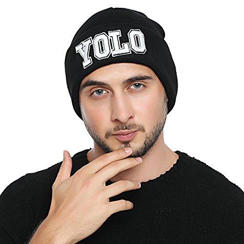 DonDon Herren stylische schwarze Mütze Winter Beanie YOLO