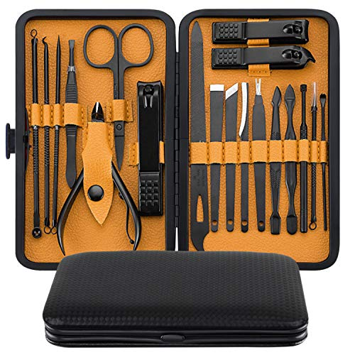 Manicure Set, MH ZONE Pedicure Set Nail Clippers, 19 Pieces Premium Stainless Steel Manicure Kit with PortableTravel Case, Perfect Gifts for Women and Men(19 Pcs Yellow)
