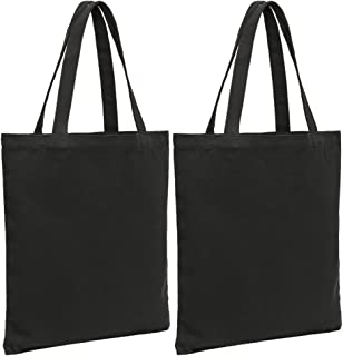 JUNFA Canvas tote bags 2 pack Washable polyester cotton handbag Reusable grocery bags 4.2 oz (Black, 2 pack)