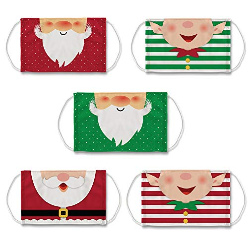 Sayingning Christmas Costume Face_Mask for Adults Anti-Dust Cute Kawaii Elf Xmas Party Decor Ear Loop Face Bandana Reusable & Washable Mouth Face Protective (5 Pack)
