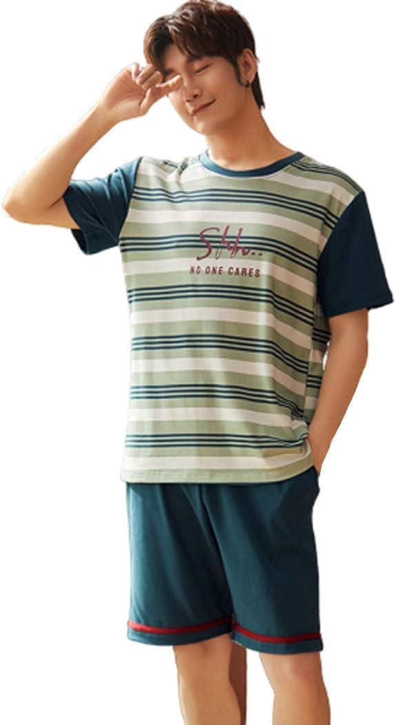 XMZFQ Mens Pyjama Set Summer 100% Cotton Sleepwear Stripe Short Sleeve and Shorts Set Korea Lounge Wear Homewear Nightwear, Gifts for Men,L