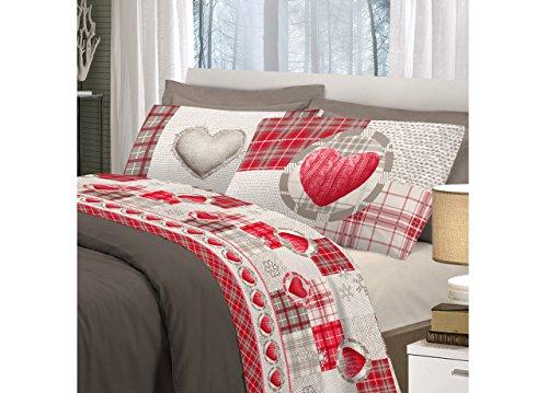 BIANCHERIAWEB Completo Lenzuola Linea Pensieri Delicati in 100% Cotone Disegno Love Mountain Matrimoniale Rosso