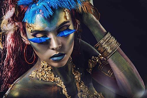 TRENDECOR - Cuadros Impresión Digital - Fotografía Chica Azul sobre Cristal Templado (120x80)