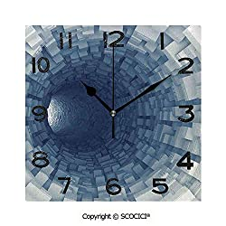 SCOCICI 8 Inch Square Face Silent Wall Clock Endless Tunnel with Fractal Square Shaped Segment Dimension Artwork Unique Contemporary Home and Office Decor