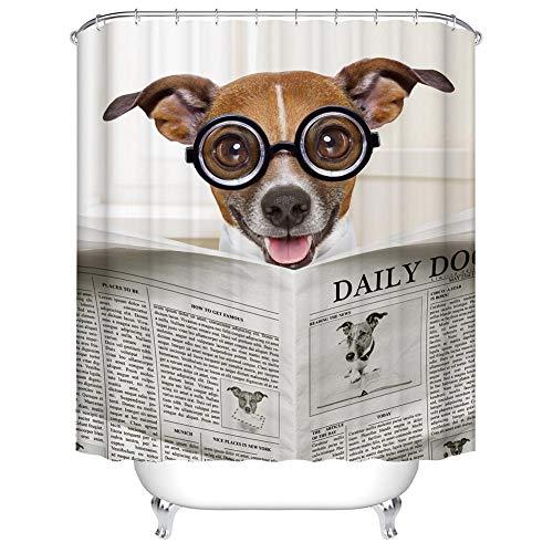 Boyouth Lustiger H& Lesung Zeitung mit Brille Muster Digitaldruck Bad Duschvorhang für Badezimmer Dekor, Polyester wasserdichter Stoff Badvorhang mit 12 Haken, 177,8 x 177,8 cm, mehrfarbig