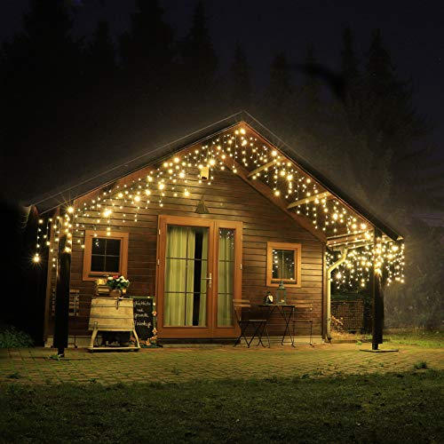 CLGarden Premium Eisregen Lichterkette außen 600 LED warmweiß 12m Timer 5 Jahre Garantie