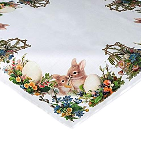 Raebel Tischdecke Mitteldecke Ostern Tischdeko Frühling Osterhasen Nostalgie Osterdekoration Polyester (Mitteldecke 85x85 cm)