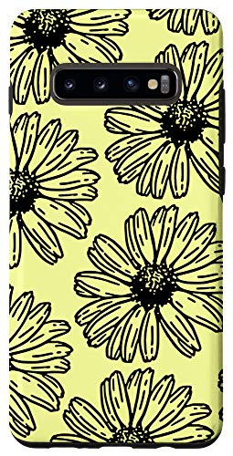 Galaxy S10+ Yellow and Black Sunflower Pattern Cute Floral Wildflower Case