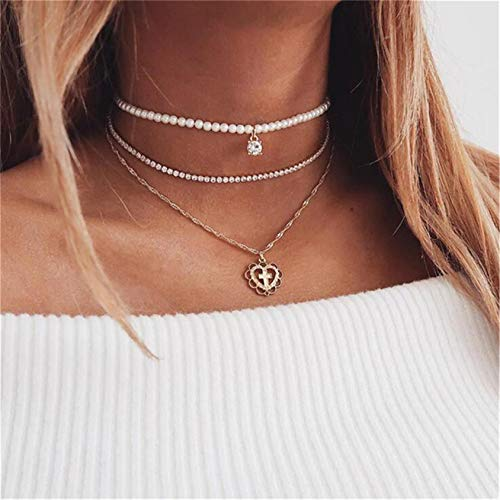 QQWA 3 Layer Necklace Crystal Pendant Women Necklace and Decorated Gift for Women Charm Chain Necklace Jewelry Accessory Gift