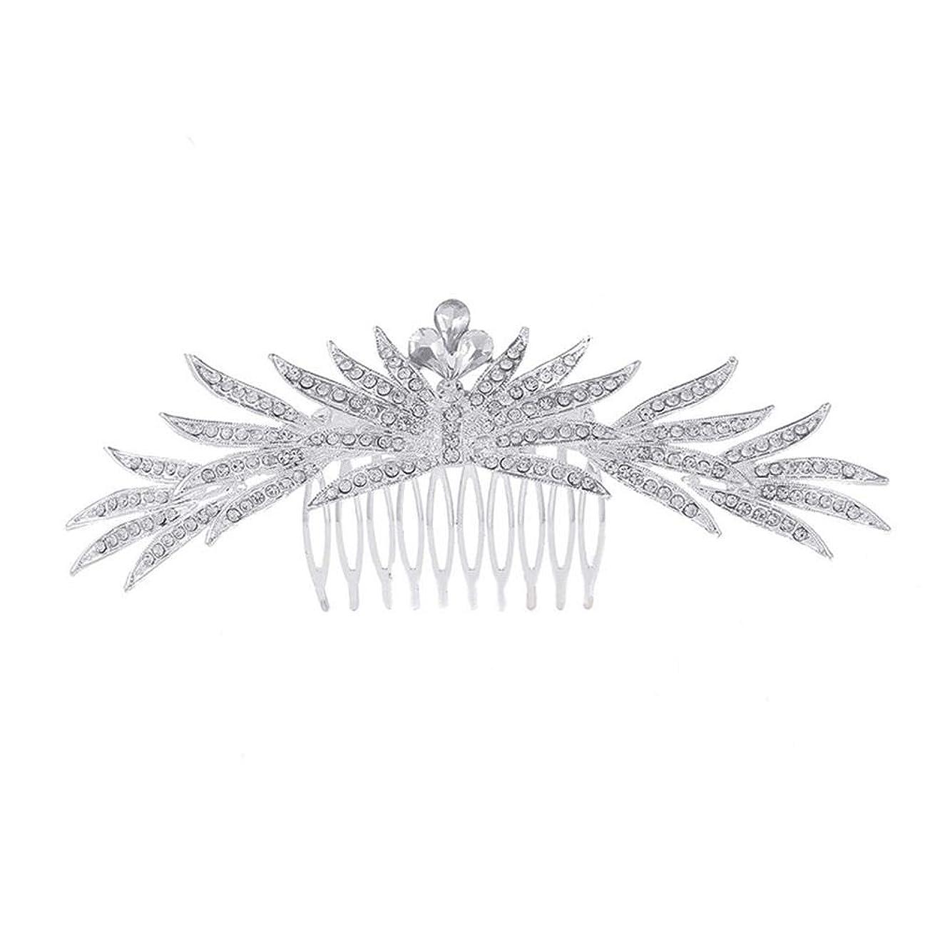 破裂教義世論調査髪の櫛の櫛の櫛花嫁の髪の櫛ラインストーンの櫛亜鉛合金ブライダルヘッドドレス結婚式のアクセサリー挿入櫛