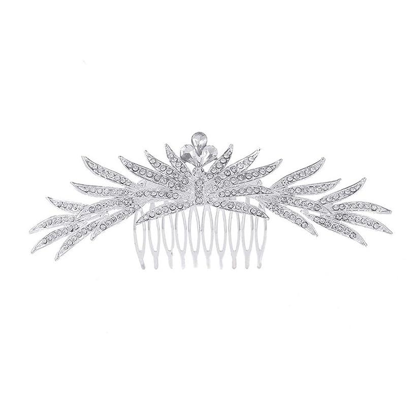 霧深い機構ジーンズ髪の櫛の櫛の櫛花嫁の髪の櫛ラインストーンの櫛亜鉛合金ブライダルヘッドドレス結婚式のアクセサリー挿入櫛