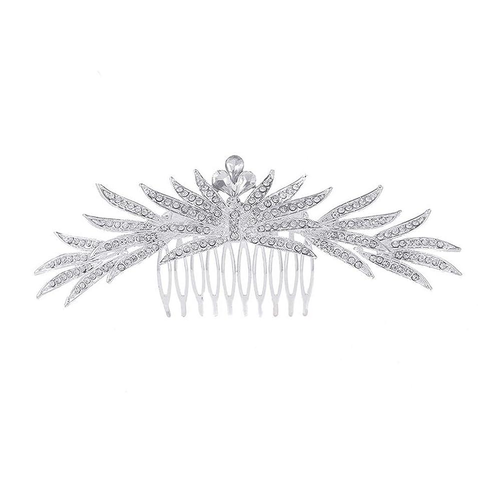 に対して雇うノイズ髪の櫛の櫛の櫛花嫁の髪の櫛ラインストーンの櫛亜鉛合金ブライダルヘッドドレス結婚式のアクセサリー挿入櫛