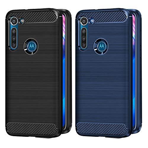 VGUARD 2 Stücke Hülle für Motorola Moto G8 Power, Carbon Faser Anti-Kratzer Stoßfest Hülle Tasche Schutzhülle Soft Flex TPU Silikon Handyhülle für Motorola Moto G8 Power (Schwarz+Blau)