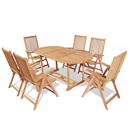 binzhoueushopping Jeu de Salle à Manger d'extérieur 7 pcs Haute qualité Design Classique en Teck Diamètre du Trou de Parasol 5 cm et Dimensions de la Table 180 x 90 x 75 cm (L x I x H)
