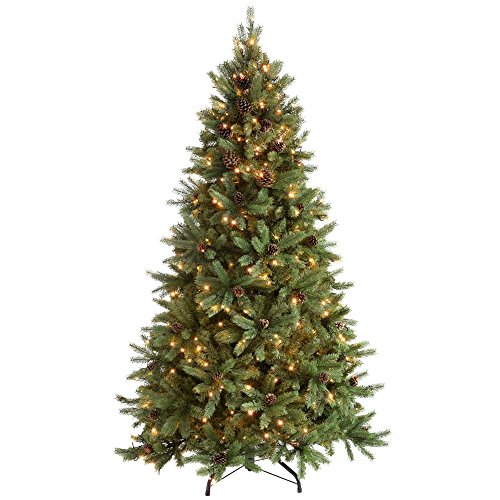 WeRChristmas Pre-Lit Craford Christmas Tree with Pinecones & 400 Chasing Warm LED Lights, 6 feet/1.8m