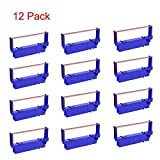 Bigger 12-Pack Compatible SP700 Printer Ribbon B/R Replacement for Star SP-700BR, RC-700BR, SP-712, SP-742 Ink Ribbon (Black and Red)