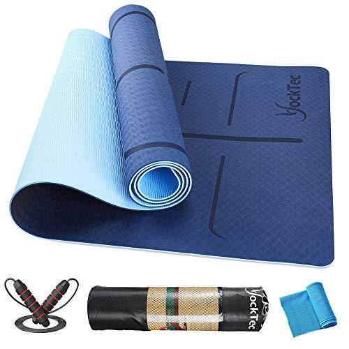 YockTec Yogamatte rutschfest TPE Schadstofffrei, Yoga Matte Gymnastikmatte Sportmatte Fitnessmatte mit Ausrichtungslinien für die Körperhaltung, Yoga mat für Pilates- 6MM Dick mit Tragegurt (Blau)
