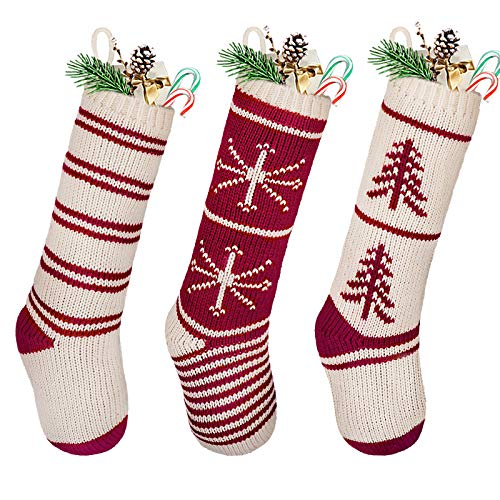 LimBridge Christmas Stockings, 3 Pack 20 inches Large Knit Knitted Classic Xmas Tree Snowflake Stripe, Rustic Personalized Stocking Decorations for Family Holiday Season Decor