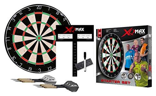 XQMAX Starter Set Bristle Dardboard, inkl. 6x 18g Steel Darts, Scoreboard, Wischer und Stift
