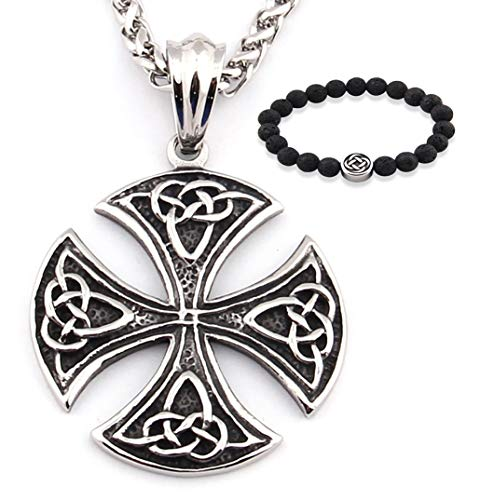 Gungneer Stainless Steel Celtic Cross Pendant Irish Knot Necklace Trinity Infinity Jewelry Protection Eternal Love Charm (20)