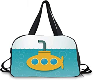 Yellow Submarine Decor Personality Travel Bag,Illustration of Submarine Bubbles below the Sea Pattern for Travel Airport,One_Size