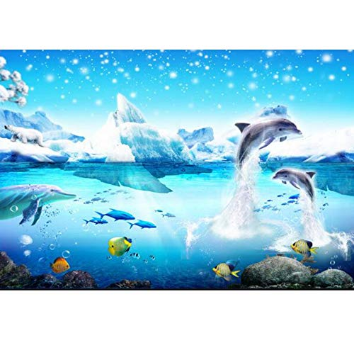 Muurafbeelding vliesbehang Tip the Dolphins behang TV-instelling wand wandbehang voor muren 3 d 400x280cm