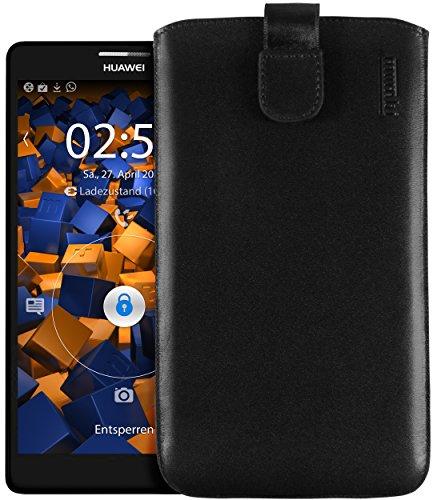 Echt Ledertasche kompatibel mit Huawei Ascend Mate Hülle Leder Tasche Case Wallet, schwarz