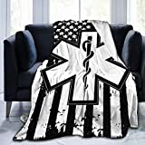 American Flag EMS Star of Life EMT Paramedic Medic 3D Print Starry Pattern Flannel Fleece Large Throw Soft Flannel Blanket Decorative Throw for Couch Sofa Bed 50' X 70'