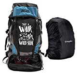 Mufubu Presents Get Unbarred 55 LTR Rucksack for Trekking, Hiking with Shoe Compartment (Blue & Black)