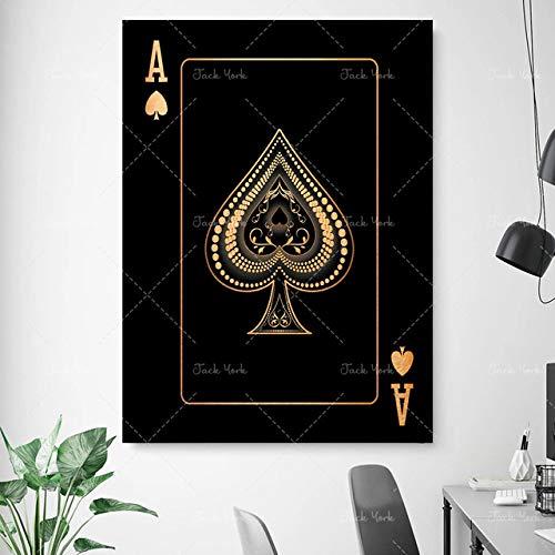 As de picas naipes abstractos de oro y plata Poker creativo HD imprimir club bar restaurante decoración cartel decoración del hogar