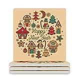 KittyliNO5 Posavasos cuadrado de cerámica con diseño de árboles de Navidad, casa muñeco de nieve, año nuevo, juego de 4/6 posavasos absorbentes con base de corcho para vasos, color blanco, 6 unidades