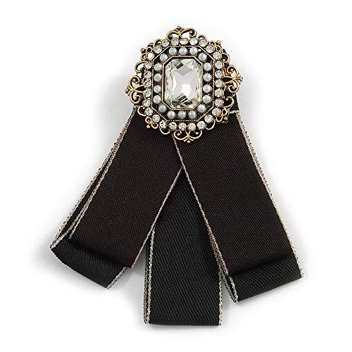 Avalaya Vintage Inspirado Retro Hombres y Mujeres Universal Negro Cinta de tela pre-atada collar con detalles de perlas y cristal en tono bronce, 11 cm de largo