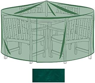 Plow & Hearth Outdoor Furniture All-Weather Cover for X-Large Round Table & Chairs - Green
