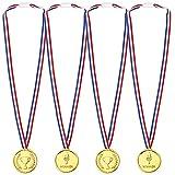 Pllieay 24 Piezas Oro Medallas Niños Medallas de Plastico Winner Medallas para Fiesta, Recompensa, Niños Fiesta Deportiva, Competencia