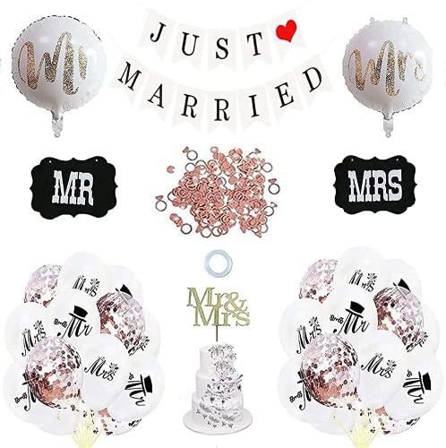 Juego de decoración de boda para recién casado,Just Married Globo,Just Married -...