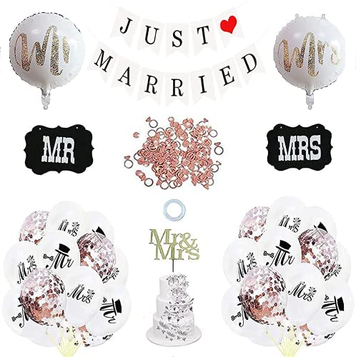 Just Married Hochzeit Deko Set,Just Married Wimpelkette Banner Girlande,Just Married girlande banner Mit Ballons,Just Married Deko,Schilder MR und MRS