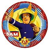 amscan 9902175 8 Papierteller Feuerwehrmann Sam, Mehrfarbig