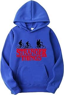 Ketamyy Uomo Donna Stranger Things Addensare Felpa con Cappuccio Foderato in Pile Cycling Bicicletta Scritte Stampa Pullover Baggy Hip Hop Felpe