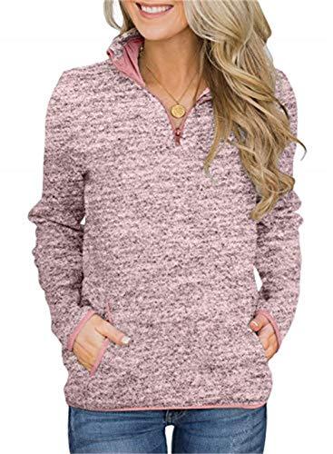 Smile Fish Damen Beil?ufig Lange ?rmel Stehkragen Sweatshirt Top 1/4 Zip Oversized Pullover mit Taschen(Rosa,M)