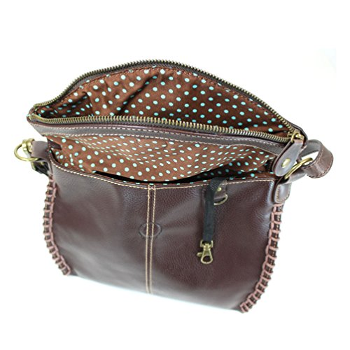 Dark Brown Chala Charming Crossbody Bag with Zipper Flap Top and Metal Chain