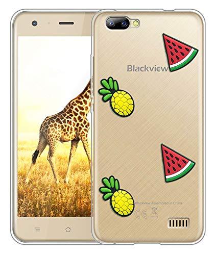 Sunrive Für Blackview A7 Hülle Silikon, Transparent Handyhülle Schutzhülle Etui 3D Case für Blackview A7(Wassermelonen-Ananas)+Gratis Universal Eingabestift MEHRWEG