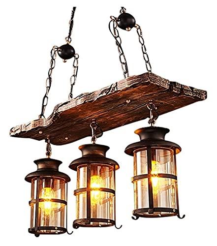Accesorio de iluminación 3-luces tradicional vintage colgante luz E27 industrial colgante lámpara retro madera colgante iluminación negro hierro y vidrio lámpara de vidrio altura ajustable loft araña