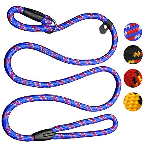 Dog Rope Leash, 5 FT Pet Slip Lead, Dog Training Leash, Standard Adjustable Pet Nylon Leash for Small Medium Dogs 10-80 lb Walking(Blue)