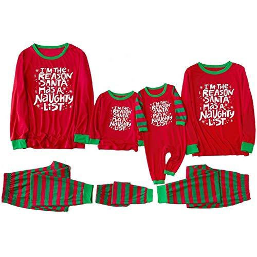 huateng Navidad Conjunto de Pijamas - Padre Madre Hija Hijo Familia Sleepwear Outfits Xmas Familia Matching Ropa de Dormir Homewear