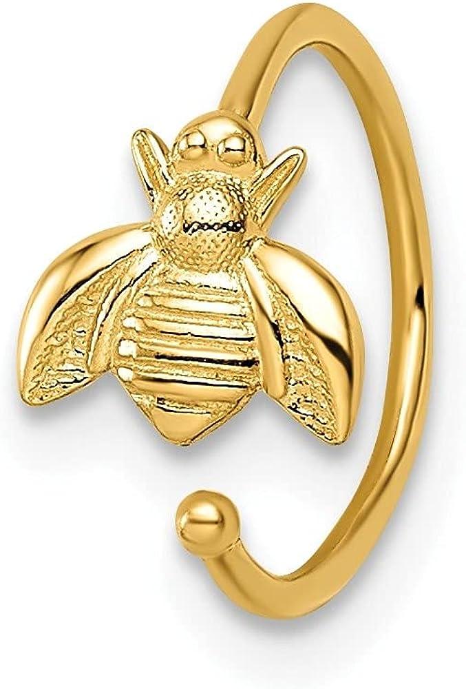 14k Yellow Gold Bumble Bee Ear Cuff