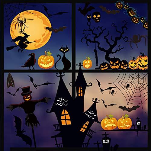 MQIAN Halloween Fenster Aufkleber, Fenster Sticker, Aufkleber Fenster Für Halloween Party, Wandaufkleber Halloween Dekorationen Fledermäuse Schädel Kürbis Aufkleber, Doppelseitige Aufkleber(B)