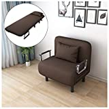 icoXXch Convertible Sofa Bed Sleeper Chair, Folding Armchair Sleeper with Pillow, 5 Position Recliner Adjustable Backrest, Single Padded Upholstered Seat, Leisure Chaise Lounge Couch for Home Office
