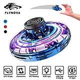 Flynova Flying Spinner, des drones portables pour enfants et adultes, des mini - OVNI de charge USB munis de 360° de rotation et de lampes RGB électroluminescentes, volant avec des firends (Bleu)