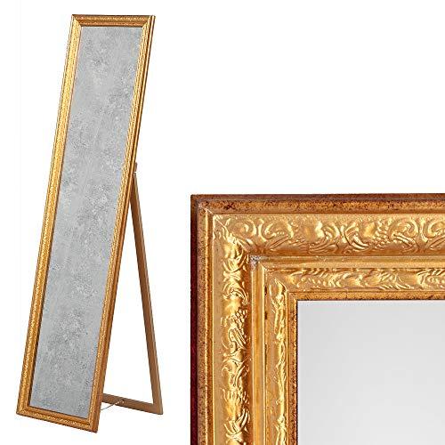 LEBENSwohnART Standspiegel Jennifer Antik-Gold ca. H160cm Ankleidespiegel Ganzkörperspiegel