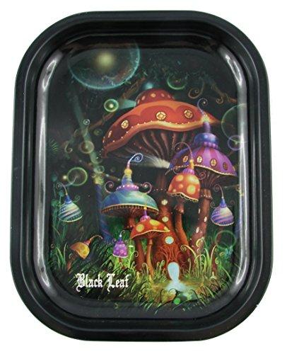 Black Leaf Rolling Tray Mushroom 180x140x16mm, Bröselschale, Mischeschale